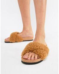 Monki - Fluffy Cross Over Sliders In Brown Faux Fur - Lyst