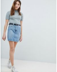 ASOS - Denim Original High Waisted Skirt In Stonewash Blue - Lyst