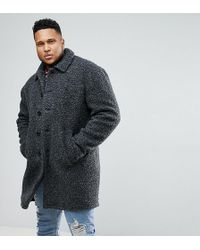 ASOS - Asos Plus Borg Overcoat In Charcoal - Lyst