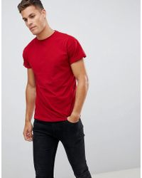 New Look - T-shirt With Roll Sleeve In Red - Lyst