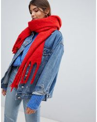 Oasis - Knitted Scarf With Tassels In Orange - Lyst