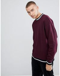 ASOS - Oversized Sweatshirt With Contrast Tipping In Burgundy - Lyst