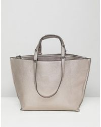 ASOS - Metallic Structured Shopper Bag With Extendable Handle - Lyst