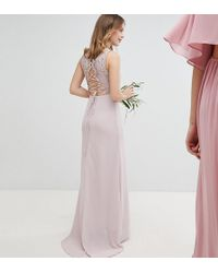 TFNC London - Lace Up Back Maxi Bridesmaid Dress - Lyst