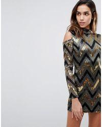 AX Paris - Chevron Multi Sequin Cold Shoulder Party Dress - Lyst