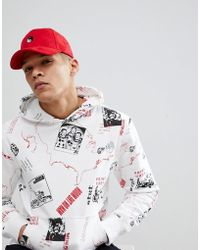 ASOS - Asos Baseball In Red Suedette With Yin Yang Embroidery - Lyst