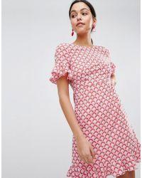 Traffic People - Frill Hem Printed Midi Dress - Lyst
