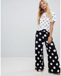 ASOS - Dream Often Polka Dot Wide Leg Pyjama Set - Lyst