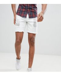 SIKSILK - Super Skinny Denim Shorts In White With Distressing Exclusive To Asos - Lyst