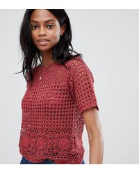Oasis - Crochet Top In Red - Lyst
