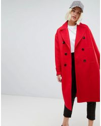 Pull&Bear - Single Breasted Smart Coat In Red - Lyst