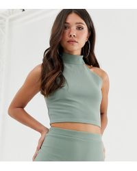 Missguided - Co-ord Ribbed Top With High Neck In Green - Lyst