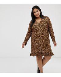 80b45887ca0e ASOS - Asos Design Curve Leopard Print Button Through Mini Dress - Lyst