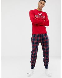 Hollister - Lounge Gift Set Check Cuffed Sweatpants & Logo Long Sleeve Top In Navy/red - Lyst