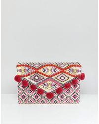New Look - Bright Pompom Clutch Bag - Lyst