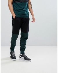 ASOS - Slim Joggers In Black With Poly Tricot Colour Blocking Co-ord - Lyst