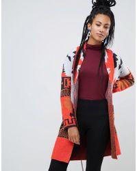 Esprit - Aztec Print Cardigan In Red - Lyst