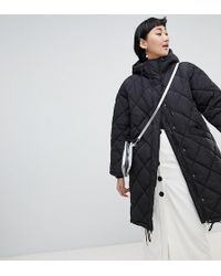 Monki - Quilted Lightweight Coat With Hoodie In Black - Lyst