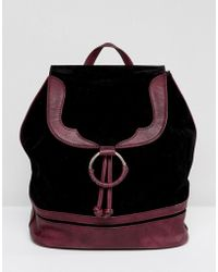 Glamorous - Faux Suede Backpack With Burgundy Trim - Lyst