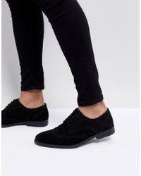 ASOS - Derby Brogue Shoes In Black Suede - Lyst