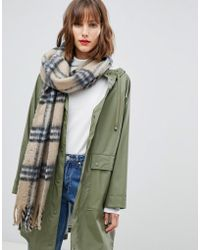 Pieces - Check Scarf - Lyst