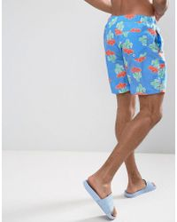 ASOS - Swim Shorts With Cactus Print In Mid Length - Lyst