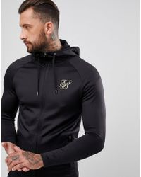 SIKSILK - Track Hoodie In Black With Gold Logo - Lyst