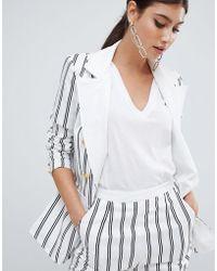 Missguided - Stripe Button Detail Blazer - Lyst