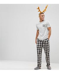 River Island | Holidays Pajama Set In Gray Check | Lyst