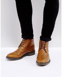New Look - Brogue Boots In Tan - Lyst