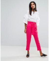 Mango - High Waisted Wide Leg Trousers - Lyst