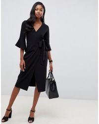 ASOS - Midi Wrap Dress With Flutter Sleeve - Lyst