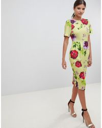 ASOS - Yellow Floral Midi wiggle Dress - Lyst