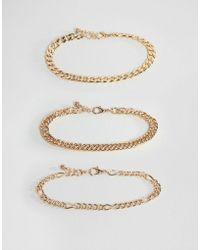 ASOS - Design Vintage Style Bracelet Chain Pack In Gold - Lyst
