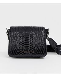 774ad14ef1 Urbancode Small Leather Cross Body Bag With Flapover in Black - Lyst