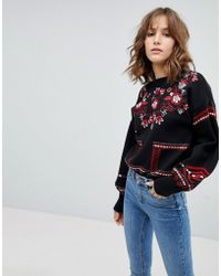 New Look - Folk Floral Embroidered Sweater - Lyst