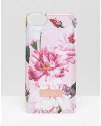 Ted Baker - Pink Floral Iphone 6/6s/7/8 Clip Case - Lyst