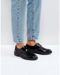 Pull&Bear - Patent And Stud Detail Shoe - Lyst