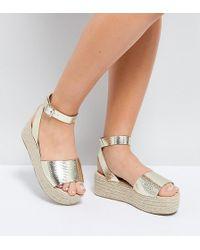 ASOS - Thear Wide Fit Espadrille Flatform Sandals - Lyst