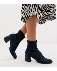 Bershka - Faux Suede Sock Boot In Indigo Blue - Lyst