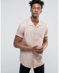 ASOS - Oversized Shirt In Pink With Revere Collar - Lyst