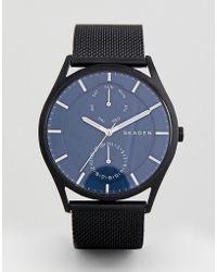 Skagen - Skw6450 Holst Chornograph Mesh Watch In Black 40mm - Lyst