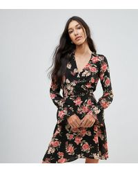 Oh My Love - Tall Tie Waist Wrap Dress In Floral Print - Lyst