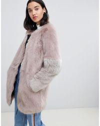 4491263c Urbancode - Claudia Faux Fur Collarless Zip Coat - Lyst