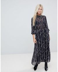 ONLY - Ditsy Printed Maxi Shirt Dress - Lyst