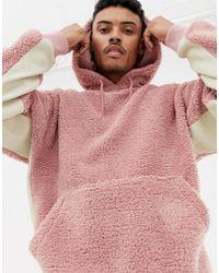 ASOS - Hoodie oversize en imitation peau de mouton avec dtails ctels contrastants - Lyst