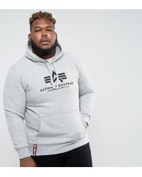 Alpha Industries - Plus Logo Hoodie Sweatshirt In Grey Marl - Lyst