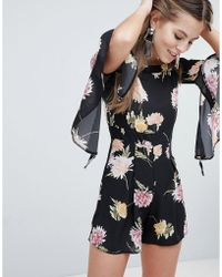 Oh My Love - Floaty Off The Shoulder Printed Playsuit - Lyst