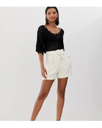 Mango - Belted Tailored Shorts In White - Lyst