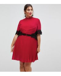 ASOS - Lace Waist And Cuff Pleated Mini Dress - Lyst